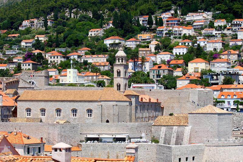Many houses near Dubrovnik old stronghold royalty free stock photo