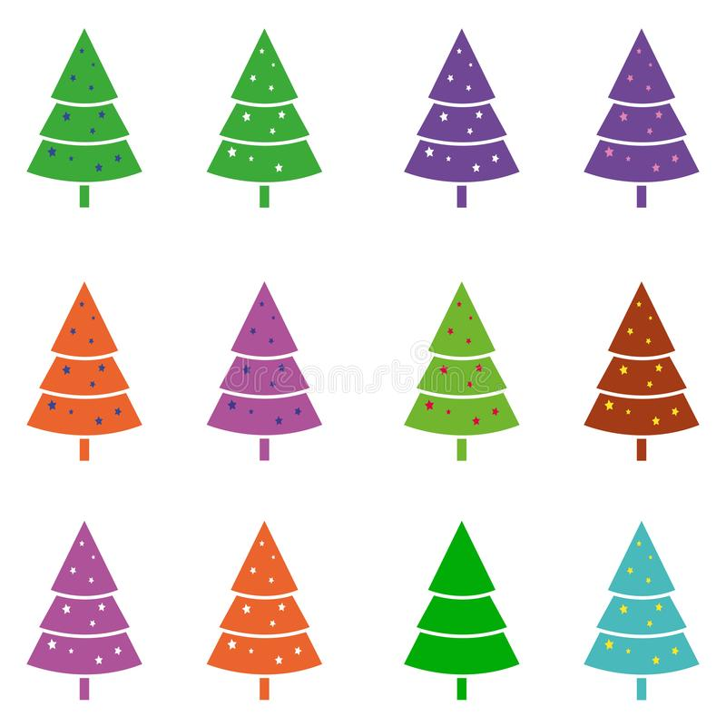 Many icons of colored trees, Christmas trees for Christmas and New Year, vector illustration stock illustration