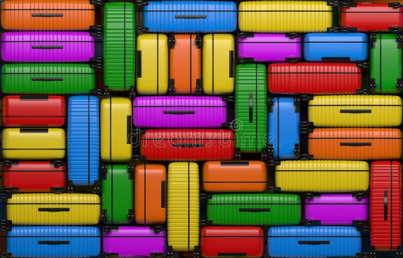 Many identical bright multi-colored suitcases on wheels stacked on top of each other. Travel bags are in a heap. 3D rendering vector illustration
