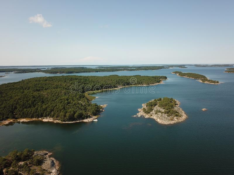 Many islands to visit in archipelago of Finland during the summer royalty free stock images