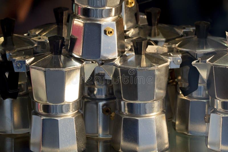 Many italian coffeepot moka stock image