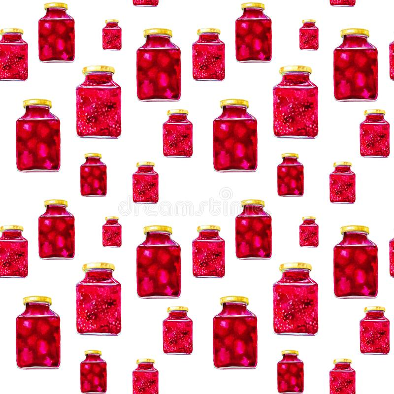 Many jars of tasty jams from different berries. Watercolor illustration isolated on white background.Seamless pattern.  royalty free stock images