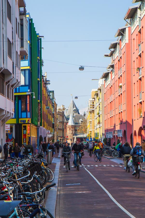 Sint Antoniesbreestraat, Amsterdam and Weigh House royalty free stock images