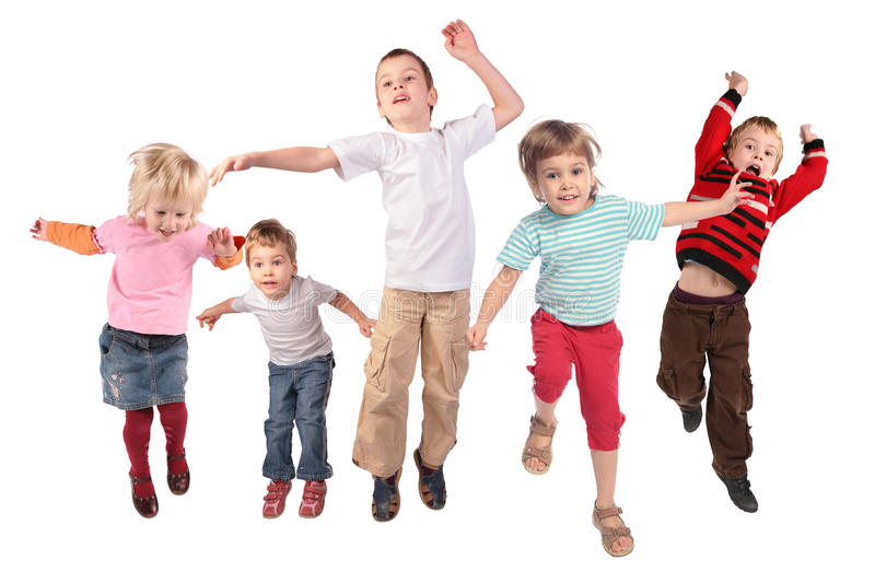 Many jumping children on white stock image