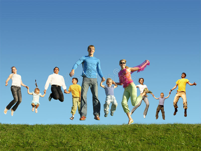 Many jumping families on the grass, collage stock images