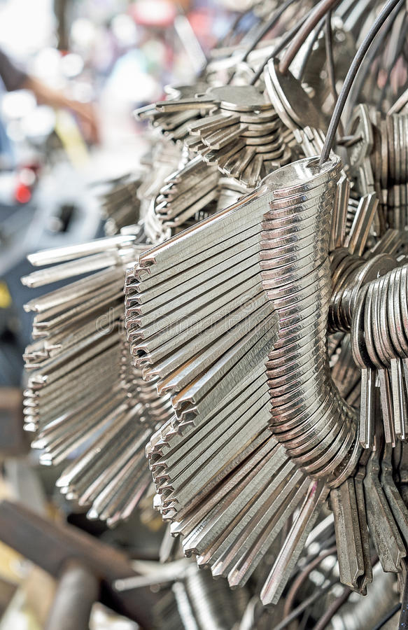 Many Keychain bunches. Selective focus and close up royalty free stock image