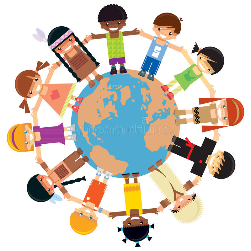 Many children holding their hands around Earth. Many kids from different ethnicities holding their hands around the world royalty free illustration