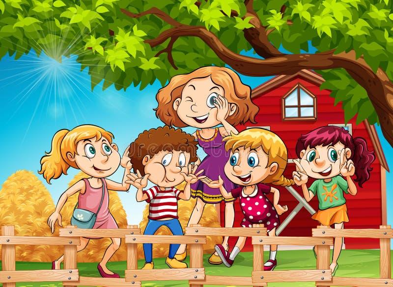 Many kids in the farmyard vector illustration