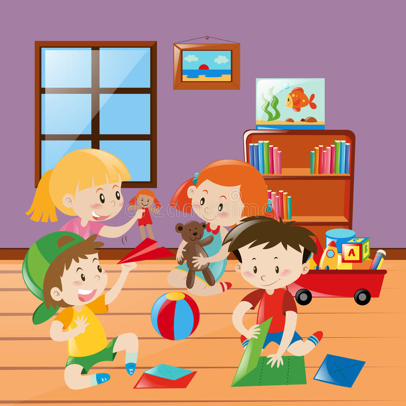 Many kids folding paper craft in the room royalty free illustration