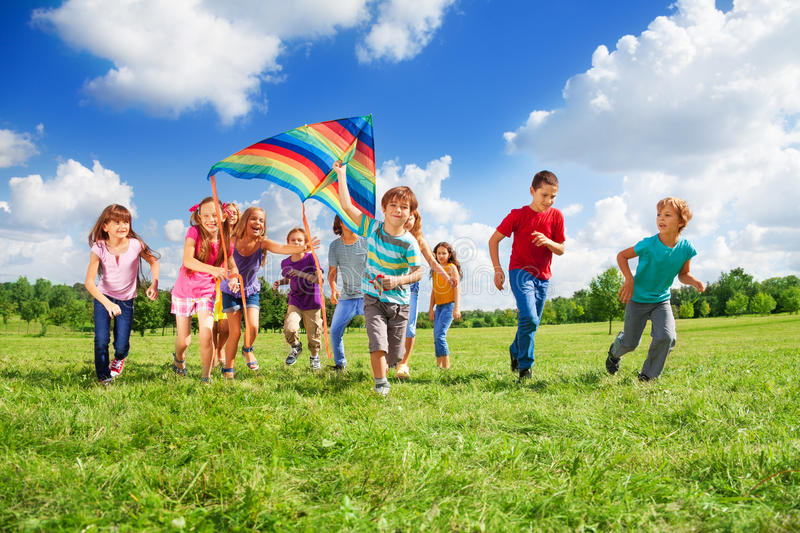 Download Many kids stock photo. Image of girl, grass, group, colorful - 33823994