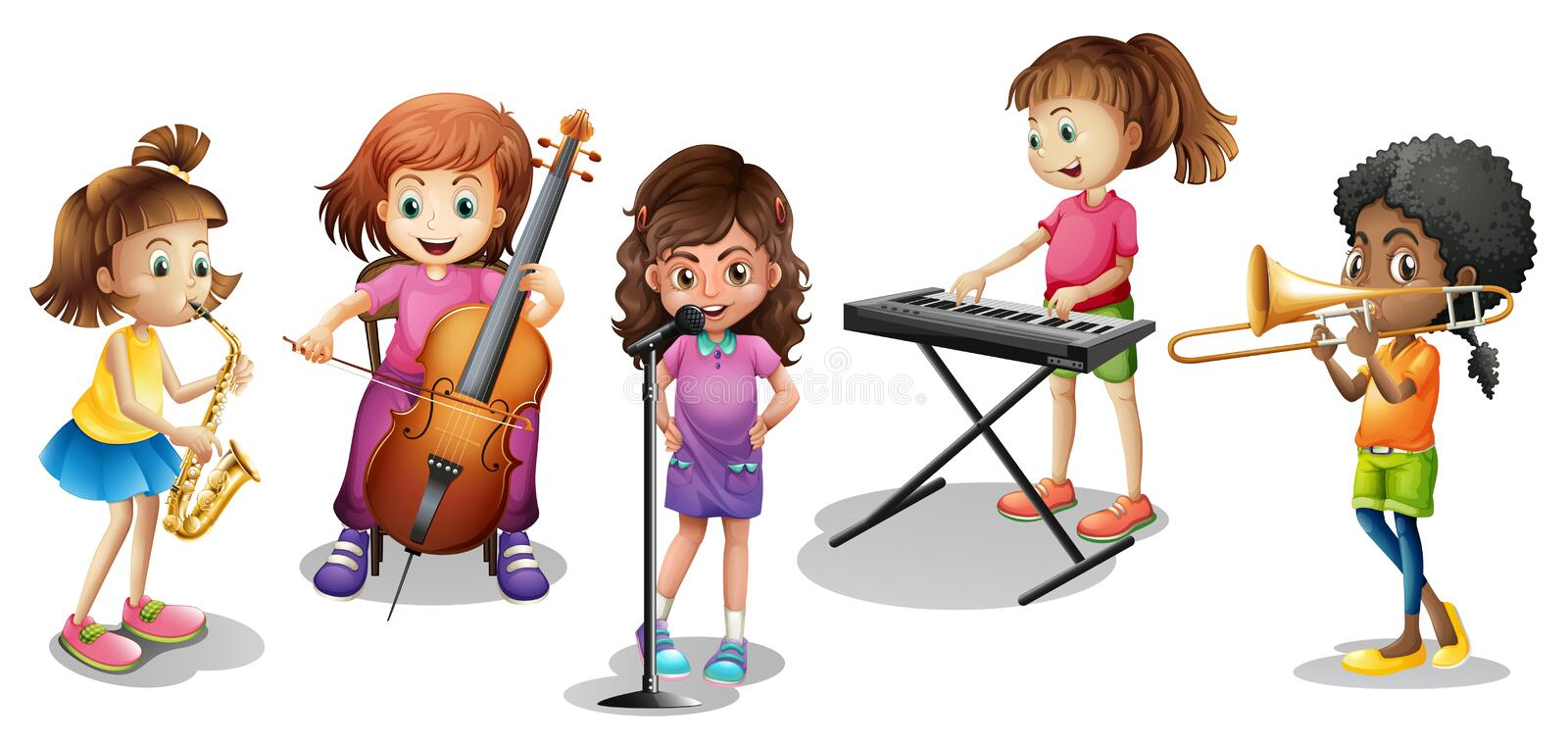 Many kids playing different musical instruments royalty free illustration