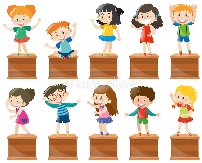 Many kids stand and sit on box royalty free illustration