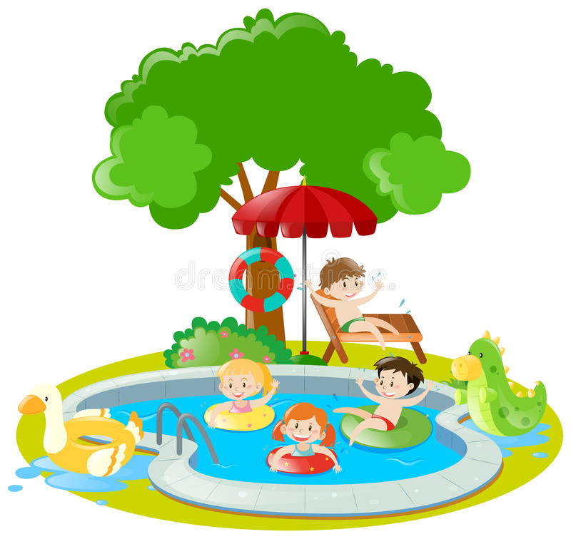 Many kids swimming in the pool. Illustration royalty free illustration