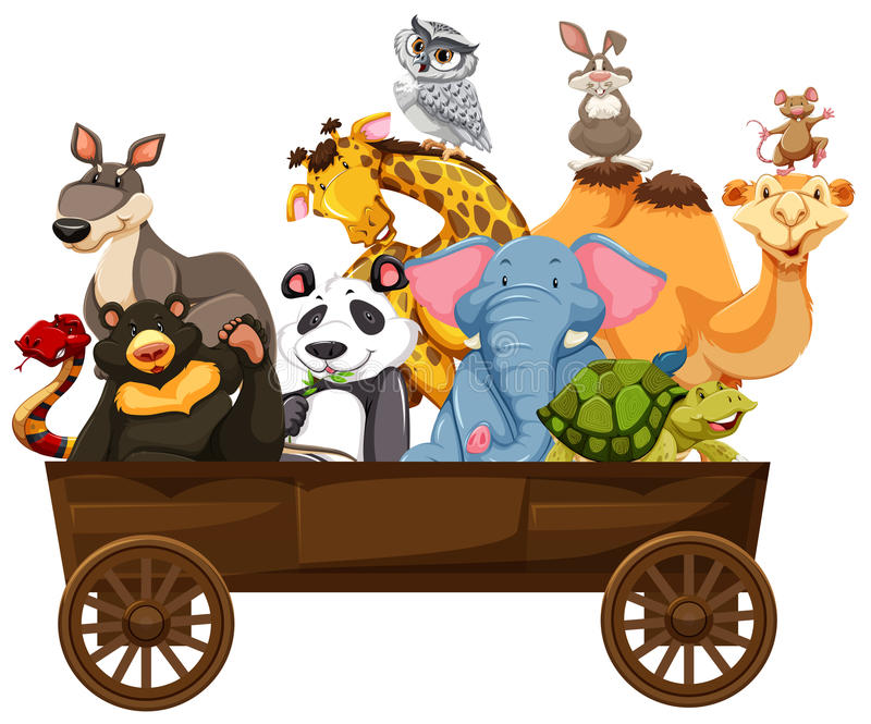 Many kinds of animals in wooden wagon royalty free illustration