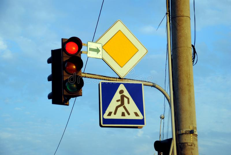 Many kinds of colored traffic sign collection stock photography