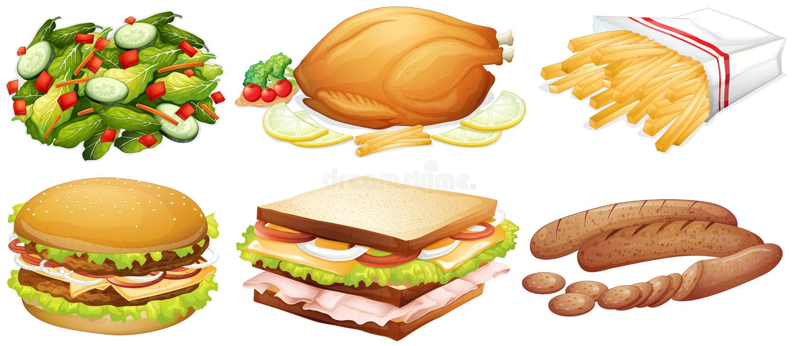 Many kinds of food royalty free illustration