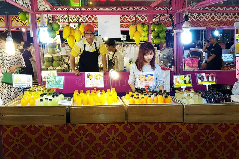Young woman in Bangkok sells fresh juice stock photos