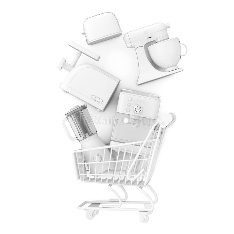 Many Kitchen Appliance Falling in Shopping Cart in Clay Style. 3d Rendering royalty free illustration