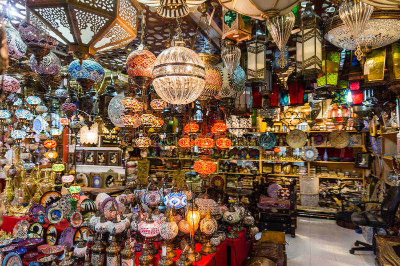 Many Lamps for sell in The Lamp Retail in The Souk, Dubai.  royalty free stock photography