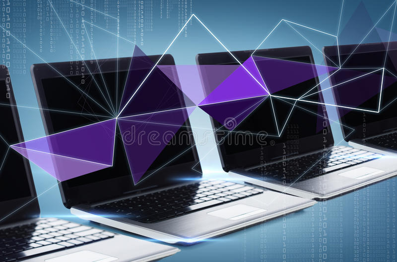 Many laptop computers with blank black screens stock illustration