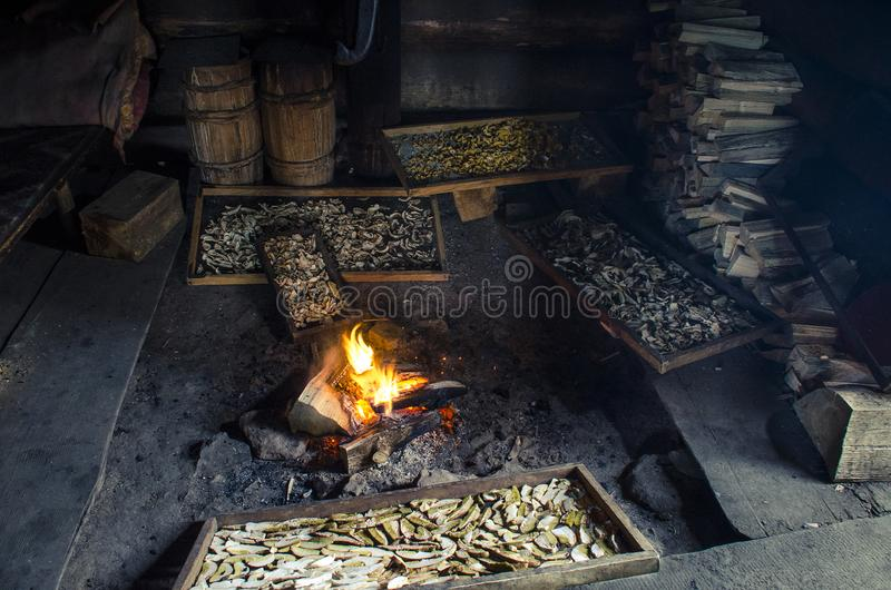 Many large porcini mushrooms dry near the fire in the old wooden house of shepherds in mountains royalty free stock image