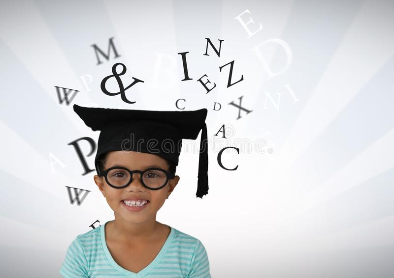 Many letters around Girl with graduation hat and bright streaked background. Digital composite of Many letters around Girl with graduation hat and bright stock illustration