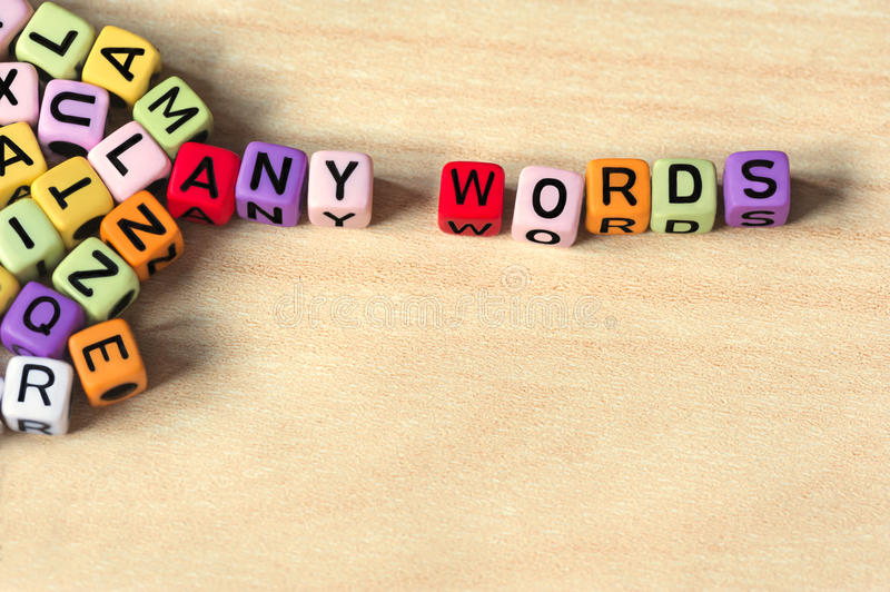 Many letters on colorful blocks royalty free stock photos