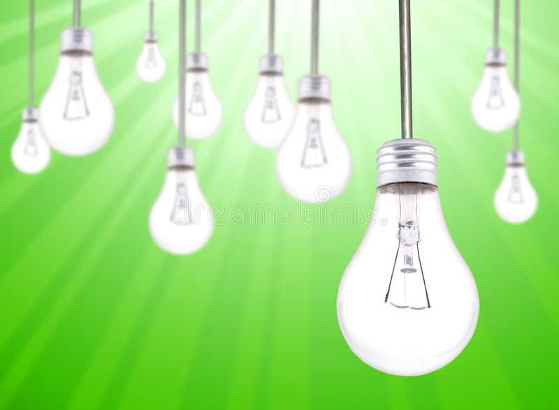 Many Lightbulbs Hanging stock image