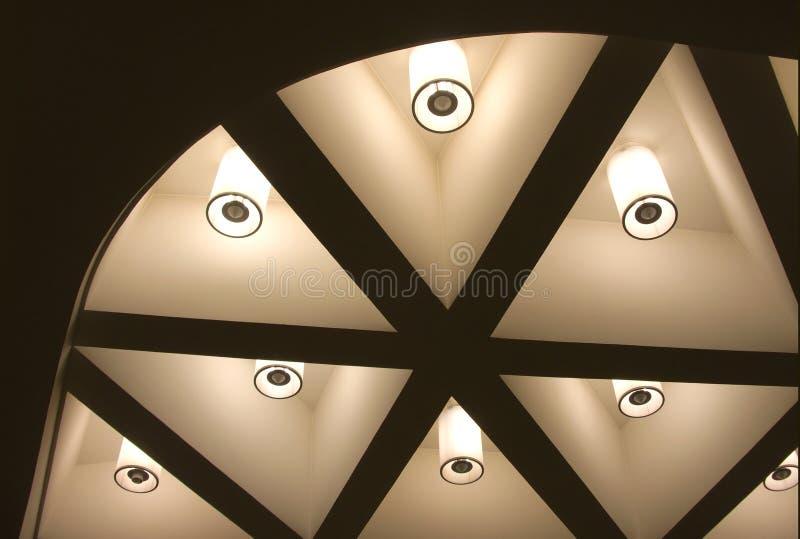 Many lighting lanterns on ceiling stock photo