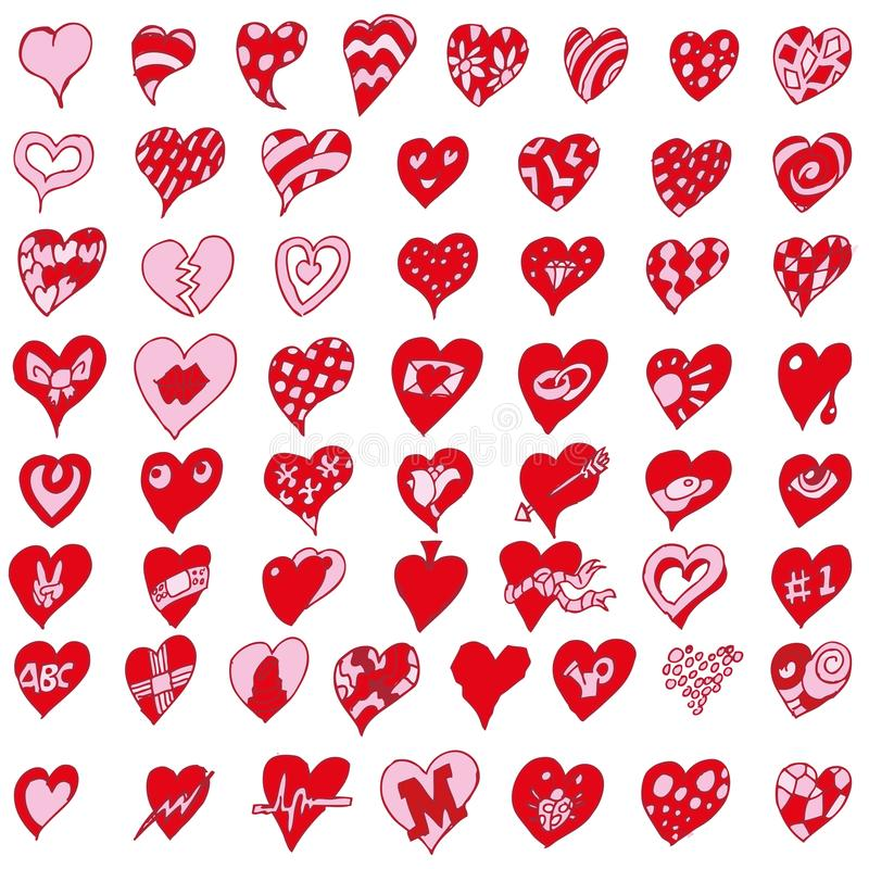 Many little hearts. Many little funny red hearts royalty free illustration