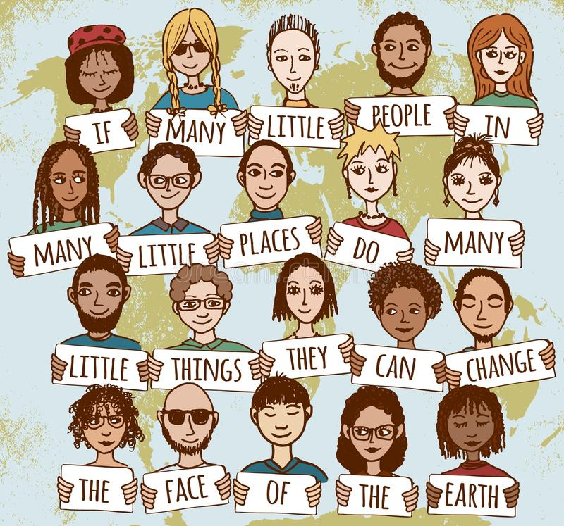 Many little people showing kindness around the world royalty free illustration
