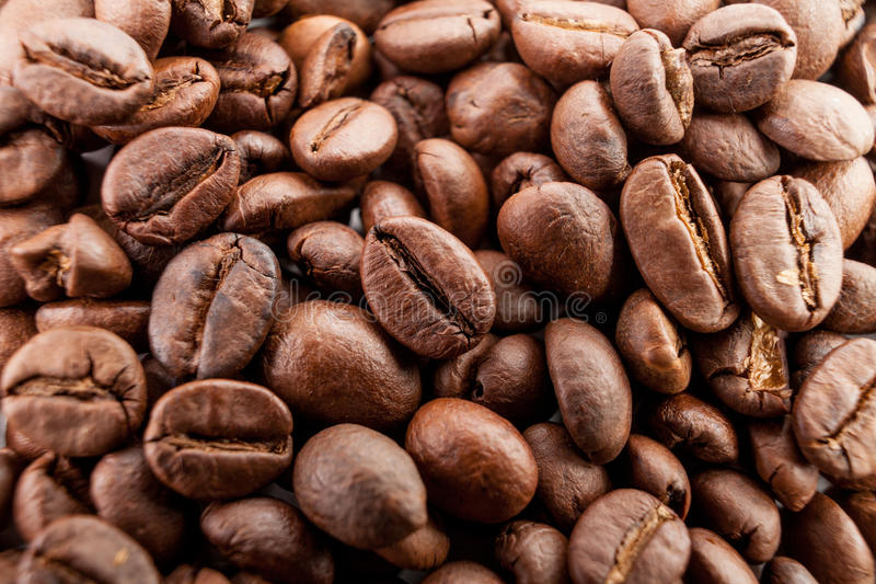 Download Many Macro Coffe Beans Closeup On Coffee Background. Stock Photo - Image: 83722901