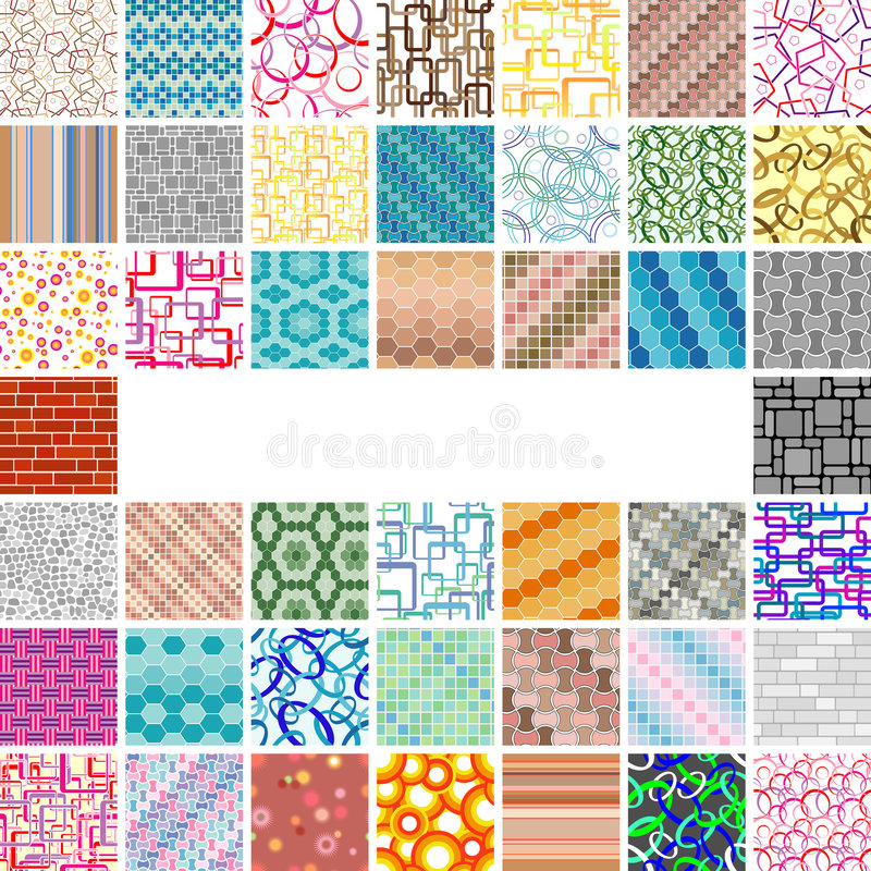 Many-many seamless patterns royalty free illustration