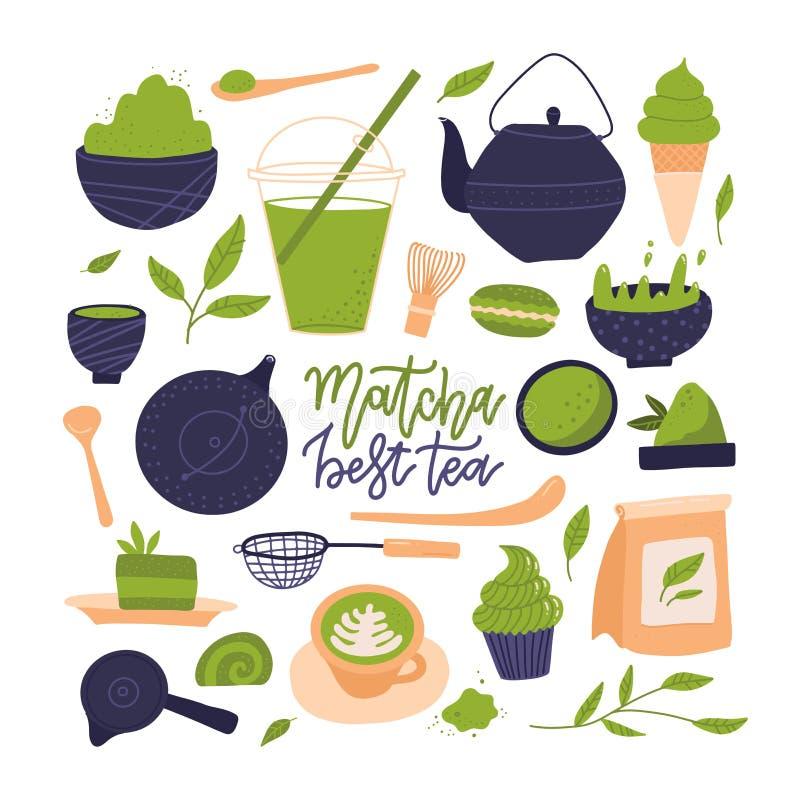 Free Many Matcha Tea Products. Matcha Powder, Mochi, Macarons, Tea Pot, Bamboo Spoon, Tea Leaves Ets. Hand Drawn Flat Vector Royalty Free Stock Photo - 200902385