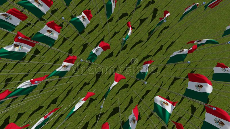 Many Mexican flags view from above in green fiel royalty free illustration