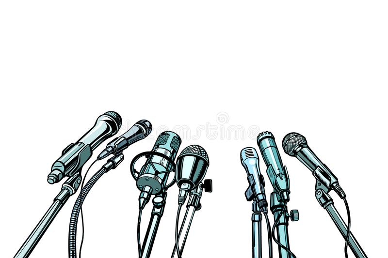 Many microphones interview background royalty free illustration
