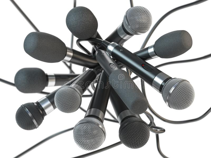 Many microphones isolated on white. Press conference or interview concept background royalty free stock photos