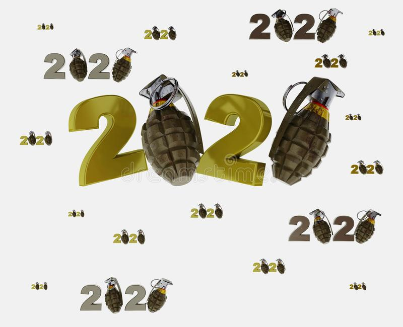 Many Military Hand Grenade 2020 Designs with lots of Grenades. On a White Background royalty free illustration