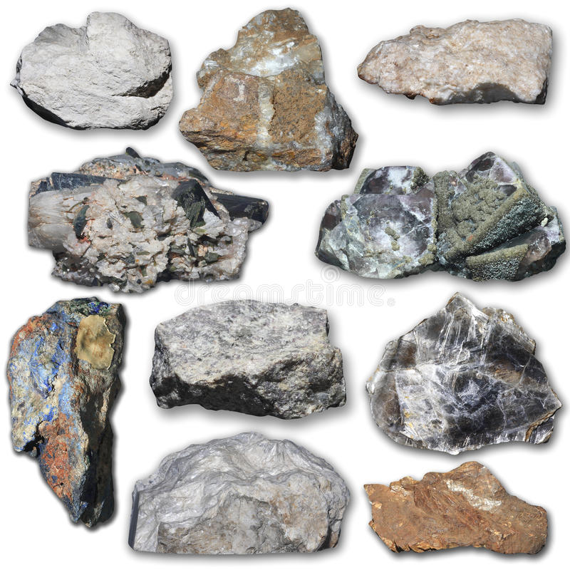 Many minerals on a white background