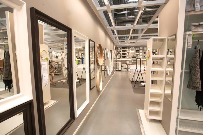 Many mirrors for private house inside IKEA store with furniture, decor and products for home royalty free stock images