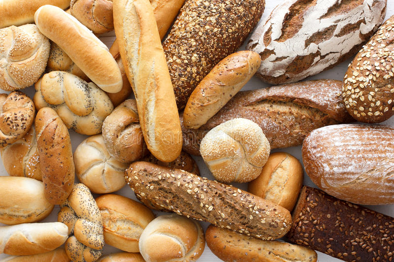 Many mixed breads and rolls. royalty free stock photos