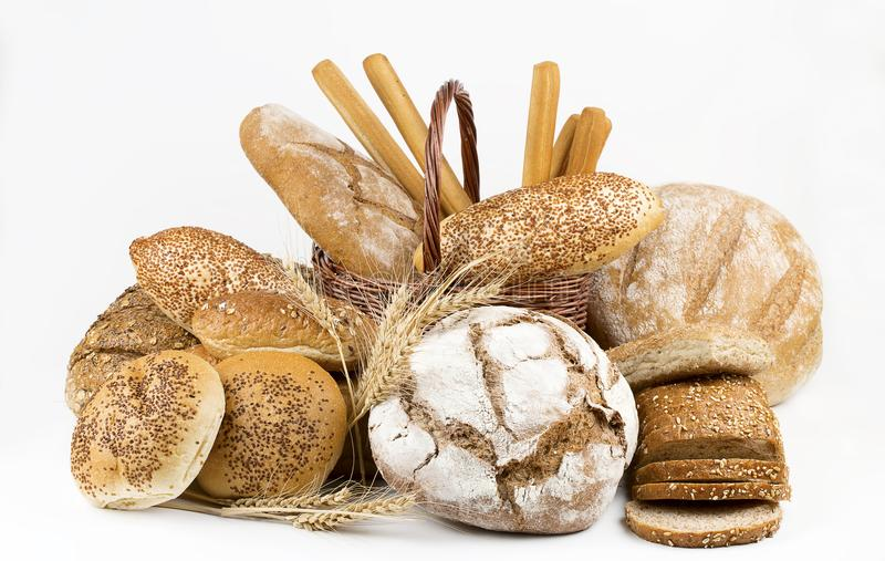 Breads on the white background royalty free stock image