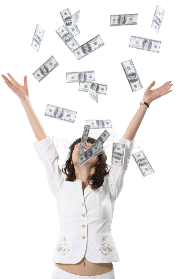 Many money. The charming woman is showered by set of money royalty free stock image