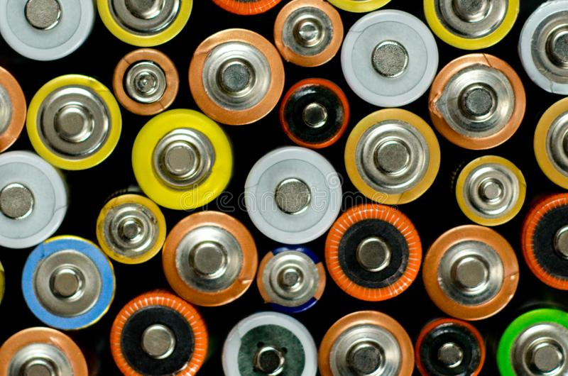 Battery on a black background royalty free stock photo