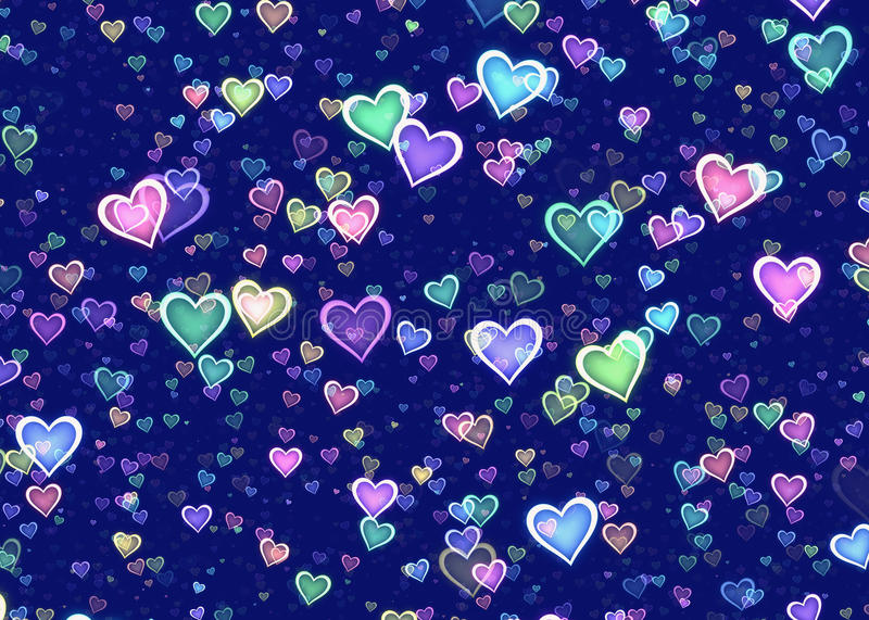 Many multicolored hearts on blue background royalty free illustration