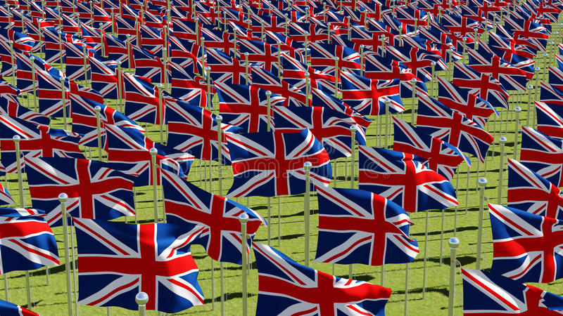 Many national flags of the United Kingdom in green field. stock illustration