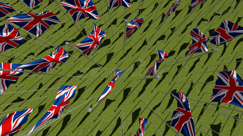 Many national flags of the United Kingdom in green field. royalty free illustration
