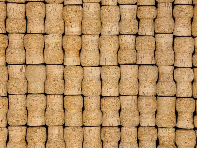 Stacked Side View of Natural Champagne Corks. Many natural, unlabeled champagne corks are shown from the side in a stacked display royalty free stock photo