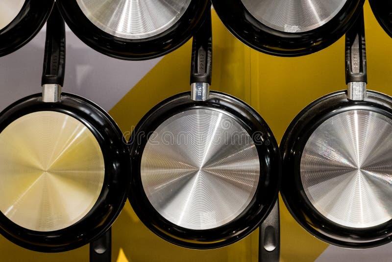 Metal frying pan stock image