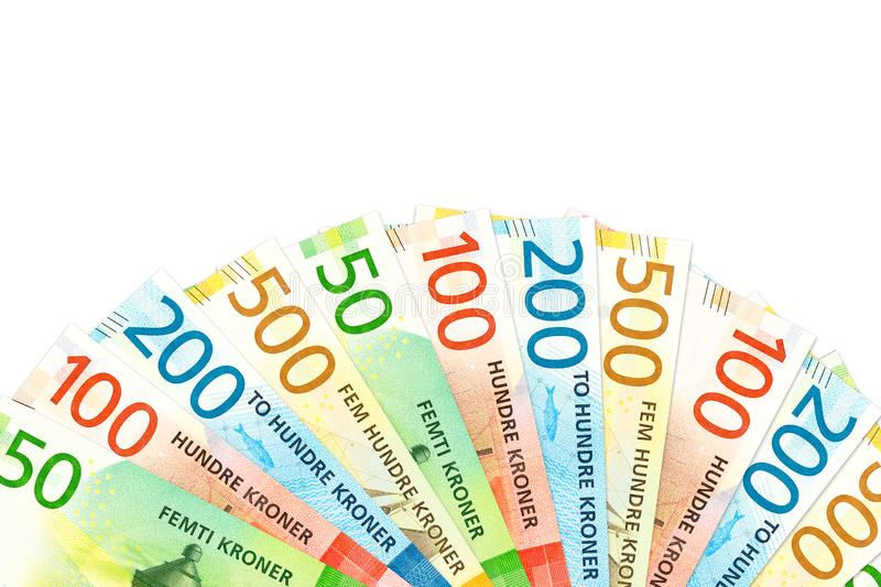 Many new norwegian krone bank notes with copy space royalty free stock photography